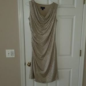 Sz 12 Champagne Cocktail dress with ruching